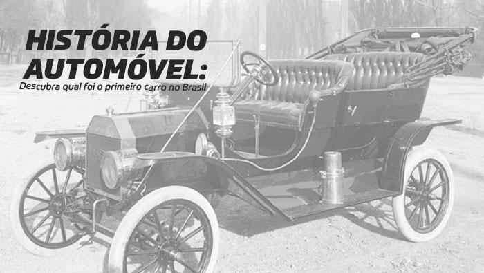 A imagem mostra o primeiro carro antigo do Brasil.