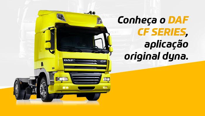 A imagem mostra um caminhão DAF CF amarelo.
